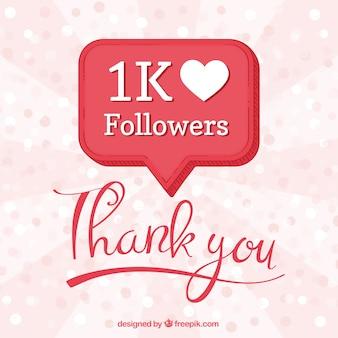 Fondo de celebración de 1k de seguidores con bocadillo de diálogo