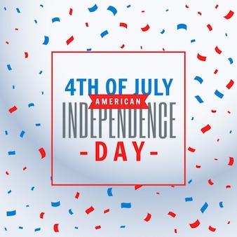 Fondo de la celebración del 4 de julio con confeti