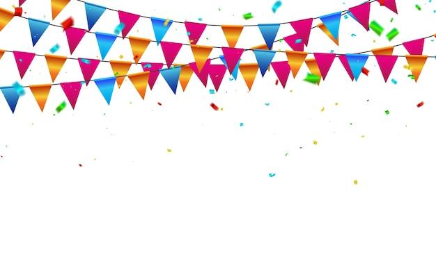 Fondo de celebración banderas confeti cintas de colores.