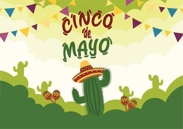 Fondo de celebración del cinco de mayo con cactus e instrumentos musicales tradicionales