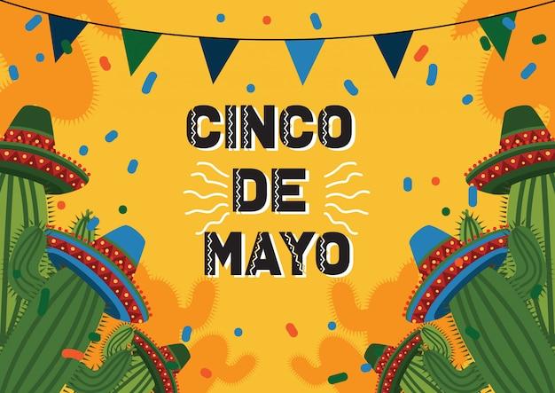 Fondo de celebración del cinco de mayo con cactus y sombrero mexicano