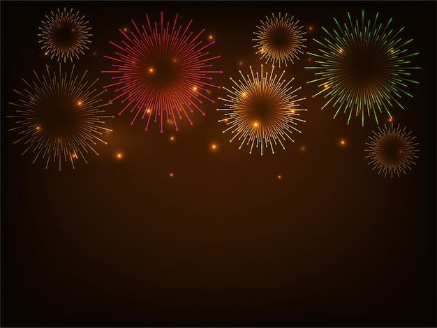 Fondo de celebración de coloridos fuegos artificiales