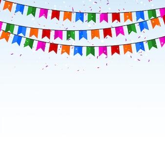 Fondo de celebración con confeti y banderas.