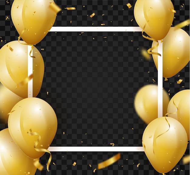 Fondo de celebración con confeti dorado y globos.