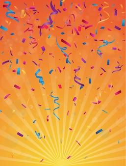 Fondo de celebración de cumpleaños colorido con banderas del empavesado y confeti