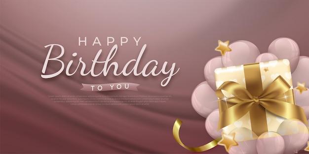 Fondo de celebración de cumpleaños con globos realistas e ilustración en caja de regalo