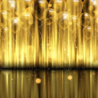 Fondo de celebración decorativa con globos dorados.