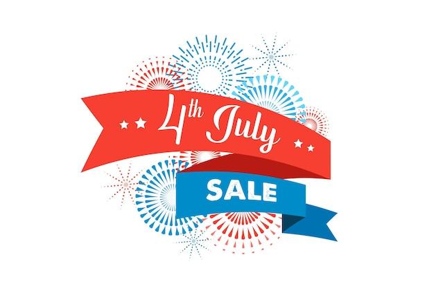 Fondo de celebración del día de la independencia americana de julio con banderas de fuegos artificiales, cintas y color