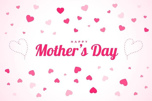 Fondo de celebración del día de la madre feliz con corazones flotantes