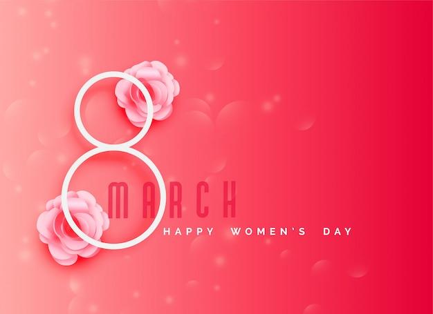 Fondo de celebración del día de la mujer feliz en tema de color rosa