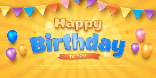 Fondo de celebración de feliz cumpleaños con decoración de fiesta