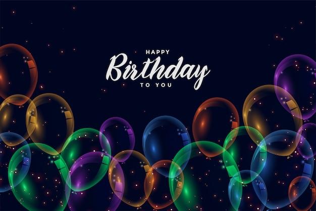 Fondo de celebración feliz cumpleaños globos coloridos