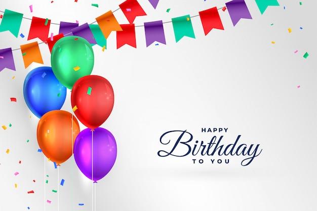 Fondo de celebración feliz cumpleaños con globos realistas