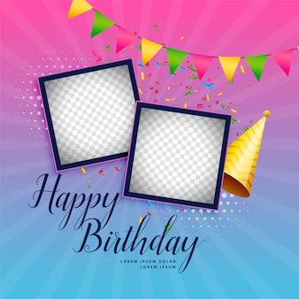 Fondo de celebración feliz cumpleaños con marco de fotos