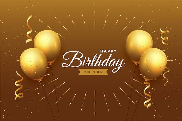 Fondo de celebración de feliz cumpleaños en tema dorado