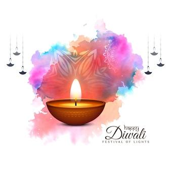 Fondo de celebración de feliz diwali festival colorufl con diya