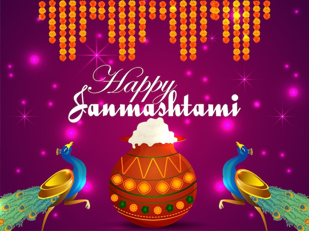 Fondo de celebración feliz krishna janmashtami