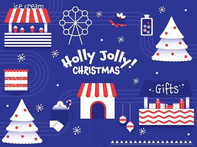 Fondo de celebración de feliz navidad de holly jolly con tienda de helados, árbol de navidad, cajas de regalo, jingle bell y noria.