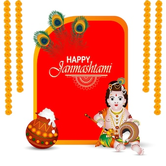 Fondo de celebración de festival indio feliz janmashtami