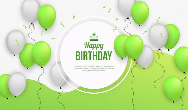 Fondo de celebración de fiesta de cumpleaños con globo realista