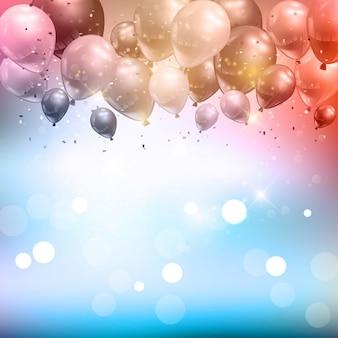 Fondo de celebración de globos y confeti