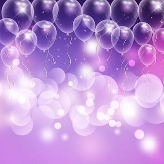 Fondo de celebración de globos y luces bokeh.