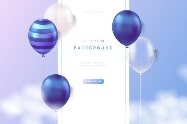 Fondo de celebración con globos realistas de colores suaves