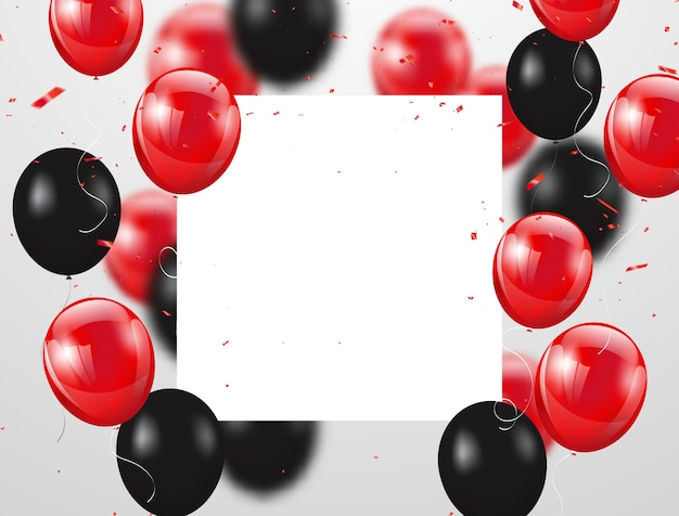 Fondo de celebración globos rojos y negros