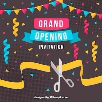 Fondo de celebración de inauguración con confeti