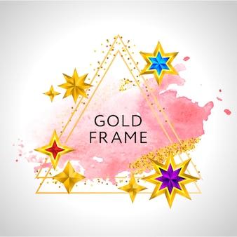 Fondo de celebración de marco abstracto con estrellas doradas de acuarela rosa y lugar para texto