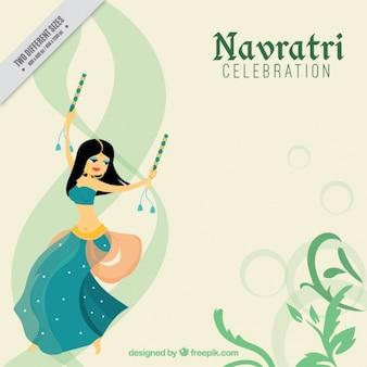 Fondo de celebración de navratri con chica bailando