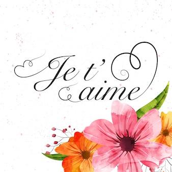 Fondo de celebración de san valentín con texto je t'aime (que significa te amo).