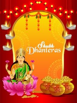 Fondo de celebración de shubh dhanteras con olla de monedas de oro y diosa laxami