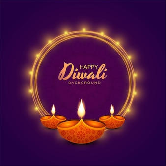 Fondo de celebración de tarjeta de vacaciones de lámparas diwali diya feliz
