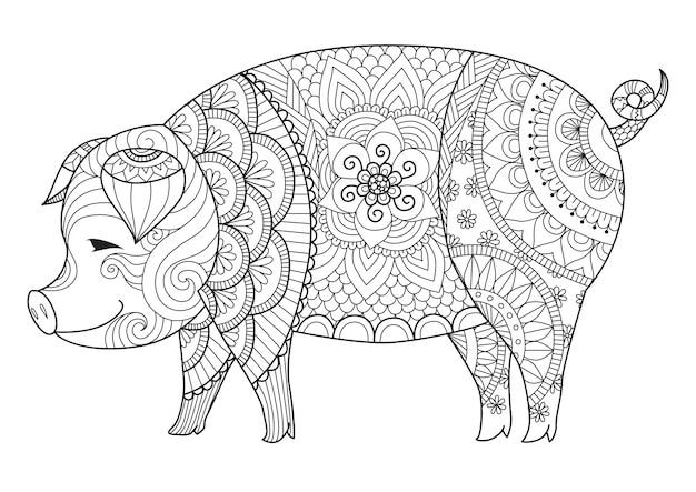 Fondo de cerdo dibujado a mano