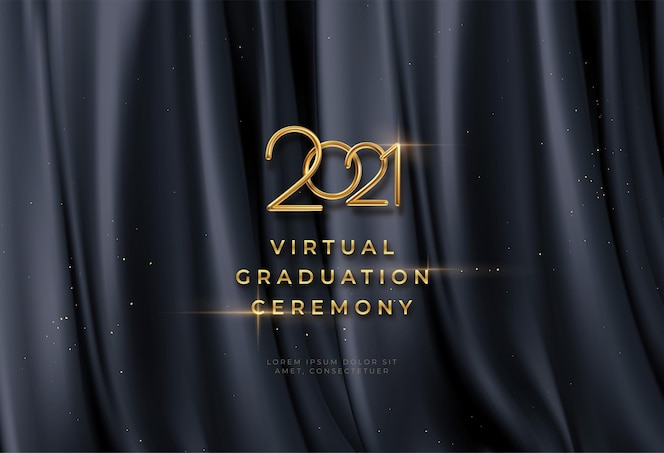 Fondo de ceremonia de graduación virtual con letras doradas