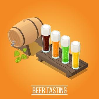 Fondo de cervecería isométrica