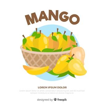 Fondo cesta de mangos dibujado a mano