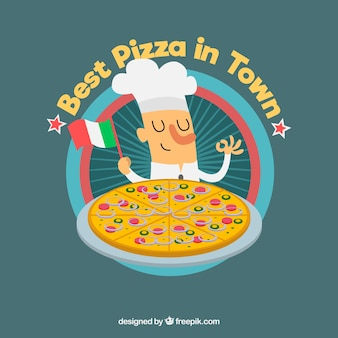 Fondo de chef con pizza y bandera de italia