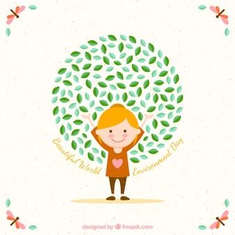 Fondo de chica feliz por el día mundial del medioambiente