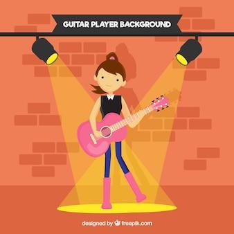 Fondo de chica guitarrista en diseño plano