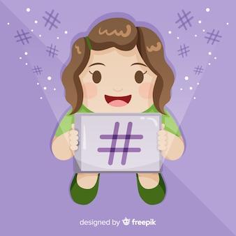 Fondo chica joven concepto hashtag