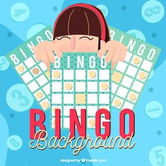 Fondo de chica con papeletas de bingo