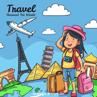 Fondo de chica viajando