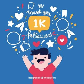 Fondo de chico feliz celebrando 1k de seguidores
