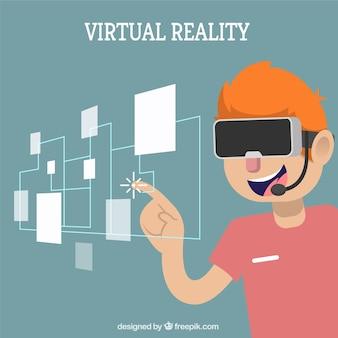 Fondo de chico con imagen virtual