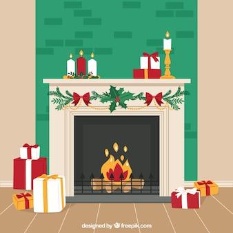 Fondo de chimenea navideña