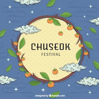 Fondo de chuseok dibujado a mano