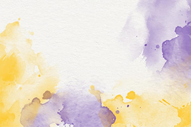 Fondo de cielo amarillo púrpura acuarela pintada a mano