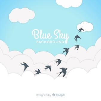 Fondo de cielo azul en diseño plano